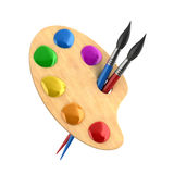 wooden-art-palette-paints-brushes-d-illustration-40114955
